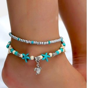 New layered beaded anklet with turtle pendant